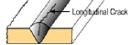 Grietas longitudinales - defectos de soldadura